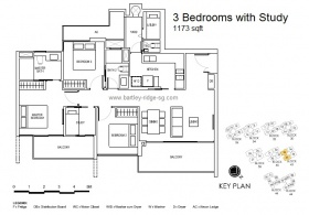 3 bedrooms with Study