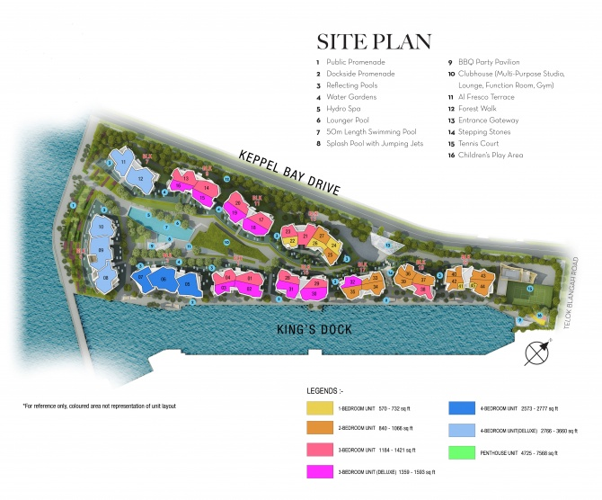 Site Plan Coloured by Bedroom Type