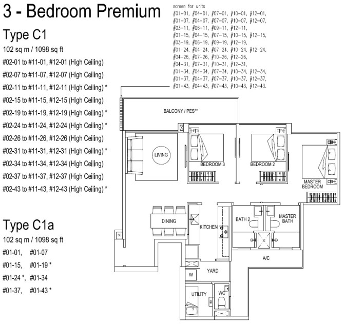 3bedroom 1098sqft